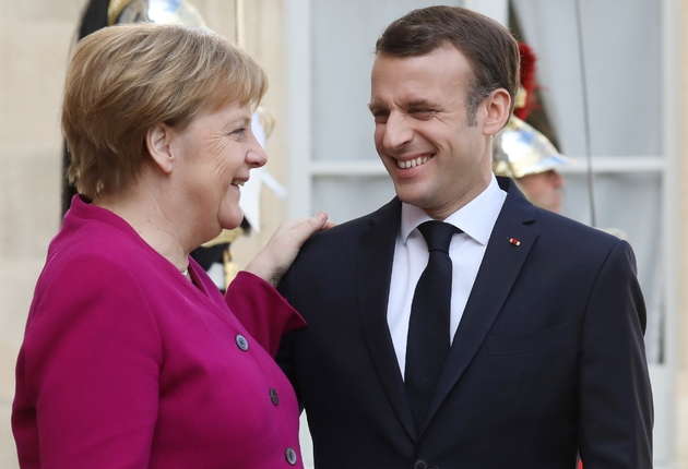 Le président français Emmanuel Macron et la chancelière allemande Angela Merkel à l'issue d'une rencontre à l'Elysée à Paris, le 26 mars 2019.