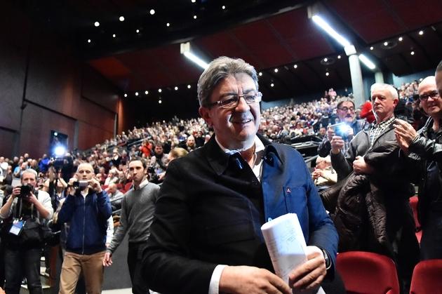 Jean-Luc Mélenchon en campagne pour la présidentielle le 11 janvier 2017 au Mans