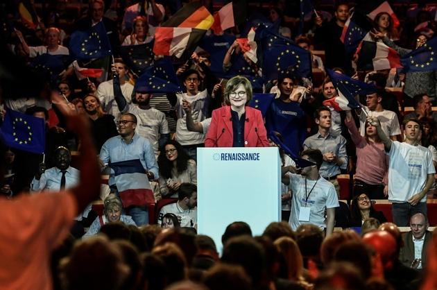 La tête de liste pour la majorité parlementaire aux élections européennes, Nathalie Loiseau (LREM), le 30 mars 2019 à Aubervilliers