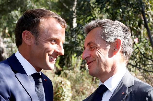 Emmanuel Macron et Nicolas Sarkozy lors des célébrations du 75e anniversaire du débarquement de Provence, photo du 15 août 2019.