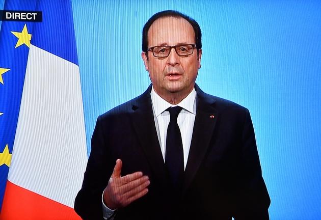 Capture d'écran de François Hollande annonçant lors d'une allocution télévisée depuis l'Elysée le 1er décembre 2016 à Paris, qu'il renonce à se présenter à la présidentielle