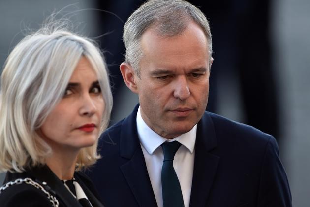 François de Rugy et  son épouse Séverine de Rugy au défilé du 14 juillet 2017 à Paris