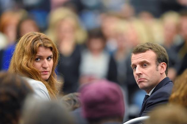 Emmanuel Macron et Marlène Schiappa à Pessac en Gironde, le 28 février 2018