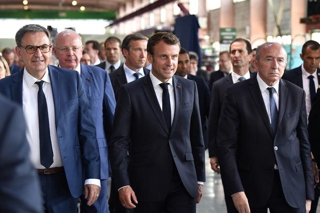 (De G à D au 1er plan) David Kimelfeld, Emmanuel Macron et Gérard Collomb à Villeurbanne près de Lyon, le 8 juillet 2019