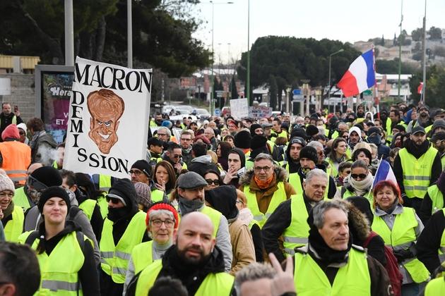 """Des """"gilets jaunes"""" manifestent à Béziers samedi 19 janvier 2019"""