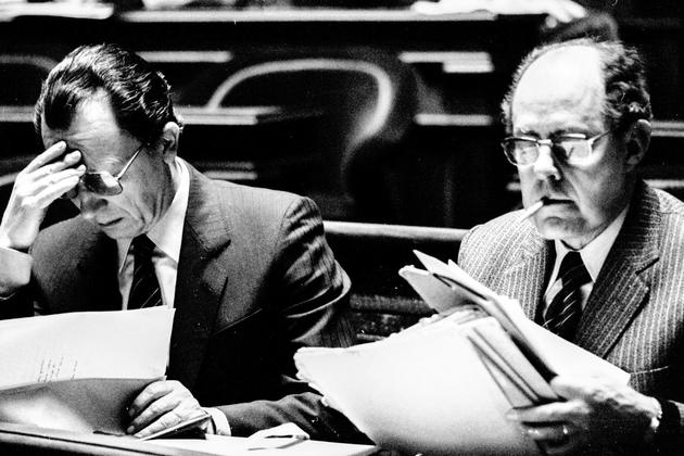 Jacques Delors et Roger Quilliot, au Sénat en 1982