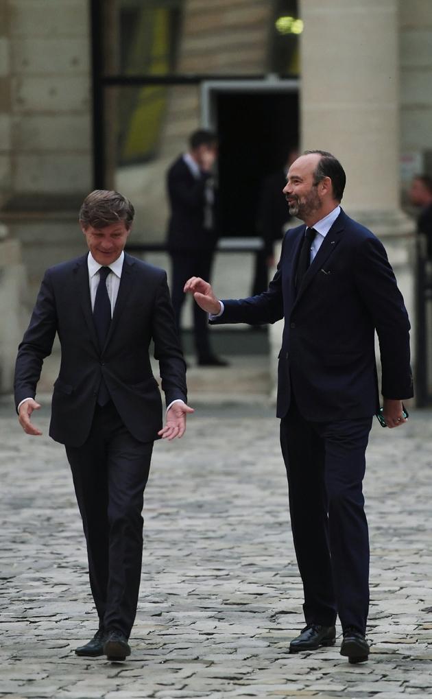 Le Premier ministre Edouard Philippe (D) accueilli par le maire de Bordeaux Nicolas Florian, le 1er octobre 2019 à Bordeaux