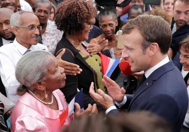 Le président Emmanuel Macron à Goyave en Guadeloupe, le 28 septembre 2018