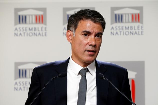 Le président du groupe des députés socialistes (Nouvelle Gauche) Olivier Faure, lors d'une conférence de presse à l'Assemblée, le 22 juin 2017
