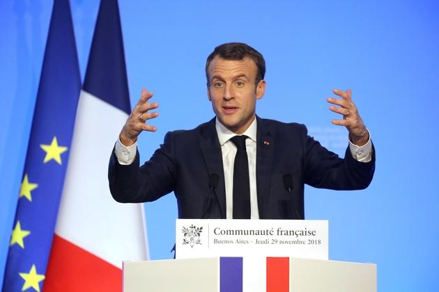 Le président Emmanuel Macron s'adresse à la communauté française, le 29 novembre 2018 à Buenos Aires, en Argentine