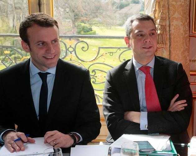 Emmanuel Macron, à l'époque ministre de l'Economie, et Alexis Kohler, qui était son directeur de cabinet, à Matignon le 07 mars 2016