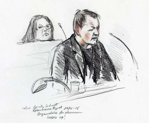 Peter Madsen durant son procès initial à Copenhague, sur un croquis d'audience de Anne Gyrite Schütt diffusé par l'agence danoise Ritzau SCANPIX le 25 avril 2018