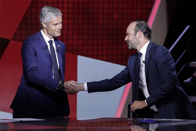 """Edouard Philippe et Laurent Wauquiez sur le plateau de """"L'emission politique"""" de France 2 à Paris, le 27 septembre 2018"""