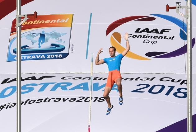 Le perchiste Renaud Lavillenie durant la Coupe continentale de l'IAAF, à Ostrava, le 9 septembre 2018