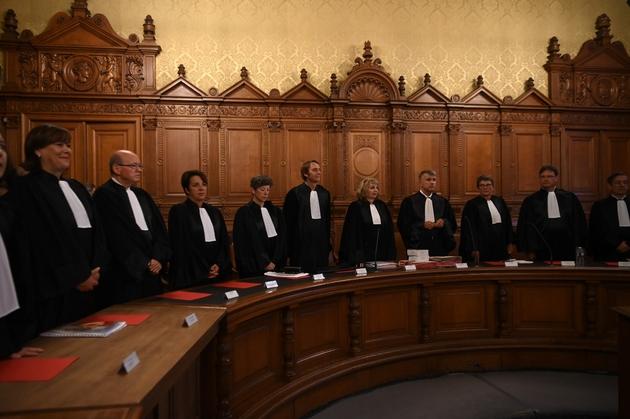 La Cour de Justice de la République à l'ouverture du procès de l'ex-ministre Jean-Jacques Urvoas, le 24 septembre 2019 à Paris