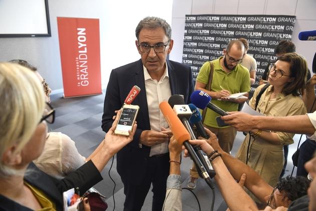 David Kimelfeld, lors d'une conférence de presse à Lyon, le 18 septembre 2018