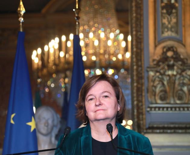 La ministre des Affaires européennes  Nathalie Loiseau, lors d'une conférence de presse le 15 mars 2019 à Paris