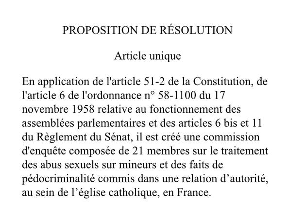Proposition de résolution