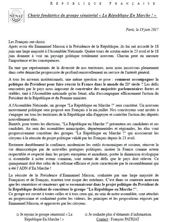 lettre patriat groupe LREM