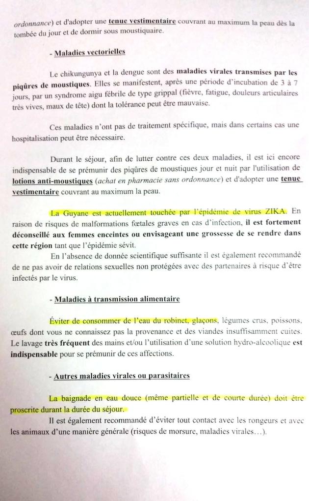 Note sanitaire de l'Elysée sur la Guyane