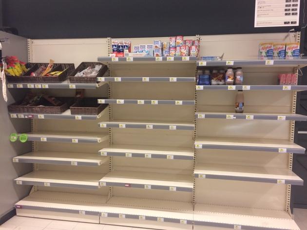 Rayon vide au supermarché à Hérimoncourt