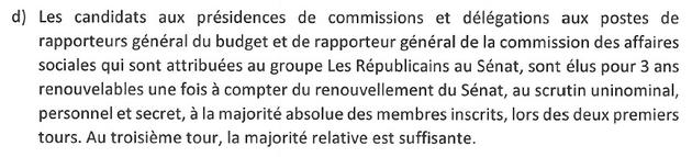 Règlement interne du groupe LR du Sénat