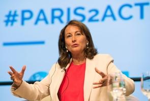 La ministre française de l'Environnement et de l'Energie Ségolène Royal, lors des rencontres de printemps organisées par la Banque mondiale et le FMI à Washington le 14 avril 2016