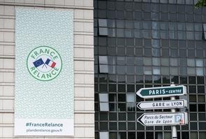Campagne d'affichage sur le ministere de l'economie et des finances du plan de relance post-covid.