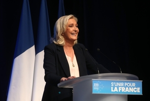 Marine Le Pen delivers a speech during the party 17th congress in Perpignan